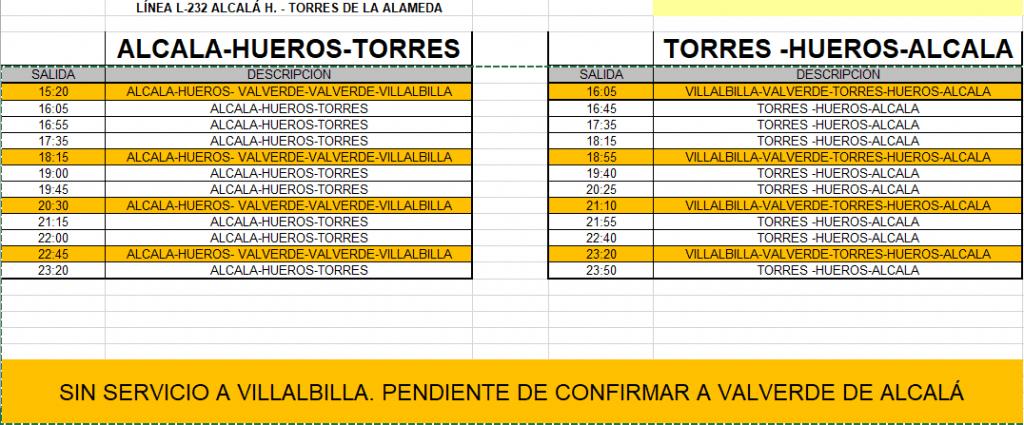 Reanudación Servicios De Autobuses L 232 Y L 231 Ayuntamiento De Torres De La Alameda